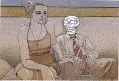 By Moebius.  Death grim reaper Father Time scythe maiden girl woman dance danse macabre skull skeleton