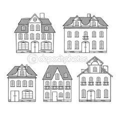 Vecchia mano disegno case isolate. illustrazione vettoriale — Illustrazione stock #10456576