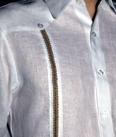 Guayabera Shirt Nelson: detail: mens Beach Wedding Shirt: mens guayabera: guayaberas for weddings #guayaberasforweddings #islandweddingstyle