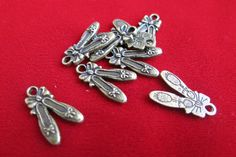 """8pc bronze """"ballet shoes"""" charms in antique bronze style (BC111)"""