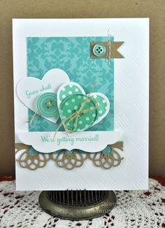 Love the off center focal point and whimsical nature of this card.  Change the colors and sentiment..it could easily work for Valentine's day.