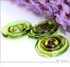 Love this color!.....Lampwork Beads - Olive Raku Organic Disks - Handmade Glass by radiantmind on Esty