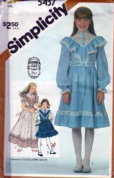 Simplicity 5437; ©1981; Gunne Sax by Jessica - Child's and Girls' Dress in Two Lengths, Size 7, FF - New Vintage Studio