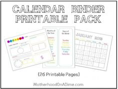 Free printable calendar pages pack