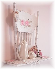 Image Detail for - ... Shabby & Romantic Chic Vintage Pressback Chair Shelf w/HP Pink Roses