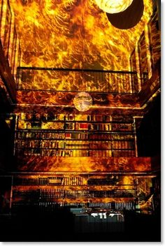 """""""Burning of a Library for Classical Studies"""" -- """"Hilden & Diaz is collaboration between the artists Thyra Hilden (1972, DK) and Pio Diaz, (1973, AR). ... Their main project together is City on Fire (2005 - 2010), a large-scale video installation setting buildings and monuments on virtual fire in order to reveal the fragile and transitory nature of man-made constructions."""" --Click through for a different photo of the library. [Quotation found here…"""