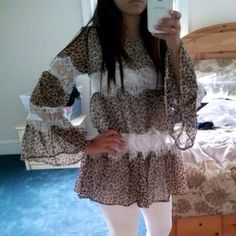 SALE cheetah leopard chiffon lace tunic top Animal print, has a lining, super cute! Comes in a gray cheetah pattern too! Can fit sizes XS and S, brand new no tags. Brown leopard is sold out only gray available mollydolly Tops Tunics