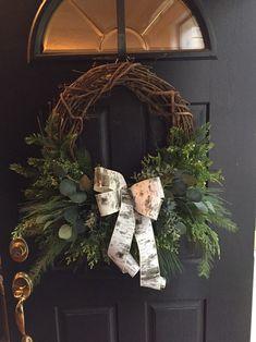 Winter Rustic Christmas Winter wreath for front door Christmas Porch, Christmas Bows, Christmas Colors, Rustic Christmas, Christmas Decorations, Greenery Wreath, Grapevine Wreath, Front Door Decor, Wreaths For Front Door