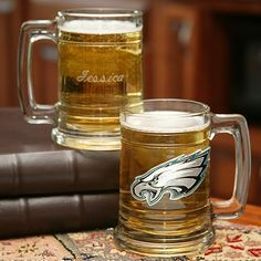 NFL Glass Tankard - Eagles These NFL tankards make a great gift for the football fans in your life. Go Eagles! Ideal for wedding party sports theme gifts Eagles Gear, Go Eagles, Fly Eagles Fly, Groomsmen Gifts Unique, Groomsman Gifts, All Gifts, Gifts For Family, Gifts For Wedding Party, Party Gifts