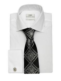 Steven Land Elite Collection Shirts  DSW 36 | White $69 #StevenLand #WellDressed 100% cotton white on white non iron classic dress shirts