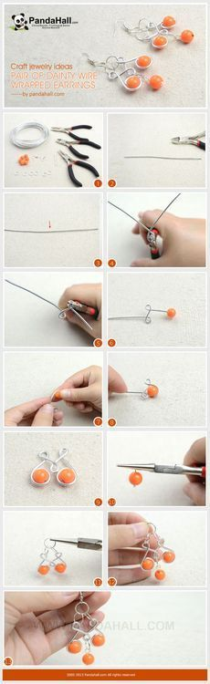 Jewelry Making Tutorial--How to DIY Adorable Wire Wrapped Earrings | PandaHall Beads Jewelry | http://coolearringscollections.blogspot.com