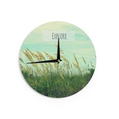 "Robin Dickinson ""Explore"" Quote Green Wall Clock"