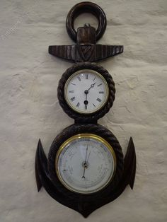 Antiques Atlas - Ships Anchor Barometer & Clock.