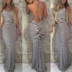 Sexy Black And White Stripe Dress