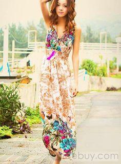 Modern Hollow Lace V-neckline Maxi Dress : Tidebuy.com