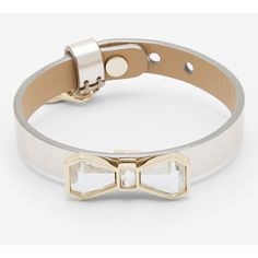 Ted Baker Crystal bow leather bracelet ($49) ❤ liked on Polyvore featuring jewelry, bracelets, silver color, bow charm, crystal jewellery, crystal stone jewelry, leather jewelry and leather charm