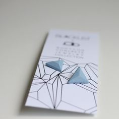 Concrete earrings blue trinagle pair