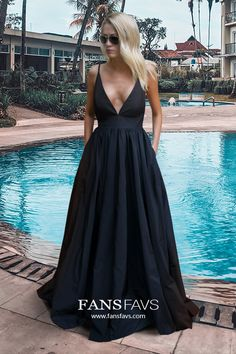 Shop Ball Gown V-neck Satin Floor-length Pockets Prom Dresses at FansFavs. Discover more Prom Dresses online to fit your fashionable needs. Prom Dresses With Pockets, Black Prom Dresses, Prom Dresses Online, Mermaid Prom Dresses, Prom Gowns, Deep V Neck Dress, Formal Gowns, Dress Collection, Vestidos
