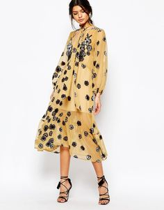Image 1 of For Love and Lemons Sierra Scarf Midi Dress in Mustard