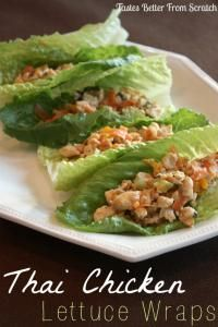 Thai Chicken Lettuce Cups...made these...sort of. I subbed ground lean pork for the chicken, doubled the cabbage/carrots, added 1 cup quinoa, and made 1.5X the sauce...AMAZING!!!