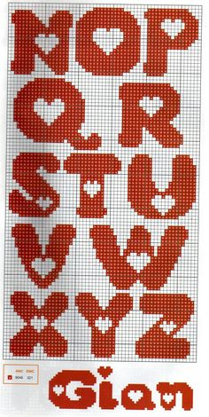 Alphabet with heart pattern ♥ Korsstygns-Arkivet ♥