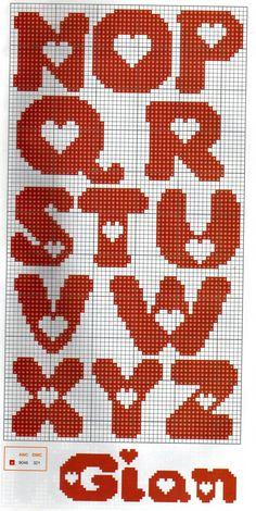 Sticken Kreuzstich - cross stitch - free pattern Alphabet with heart pattern ♥ Korsstygns-Arkivet ♥ Crochet Alphabet, Crochet Letters, Heart Patterns, Canvas Patterns, Stitch Patterns, Cross Stitch Letters, Cross Stitch Heart, Cross Stitching, Cross Stitch Embroidery