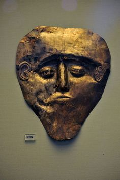 Mask of Electrum material  MYCEANEAN 14T  CENT. BC ARCHEOLOGICAL  MUSEUM  OF  ATHENS