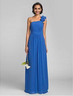 Sheath/Column One Shoulder Floor-length Georgette Bridesmaid Dress - http://www.aliexpress.com/item/Sheath-Column-One-Shoulder-Floor-length-Georgette-Bridesmaid-Dress/32331579786.html