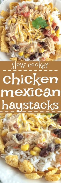 These chicken mexican haystacks are a play on tradition haystacks and have a fun tex-mex twist thanks to the corn chips, beans, corn, and creamy chicken sauce. A fun family dinner where everyone can make their own. Plus, it's made in the slow cooker so di Crock Pot Slow Cooker, Crock Pot Cooking, Slow Cooker Chicken, Slow Cooker Recipes, Cooking Recipes, Crockpot Meals, Cooking Ideas, Food Ideas, Freezer Meals