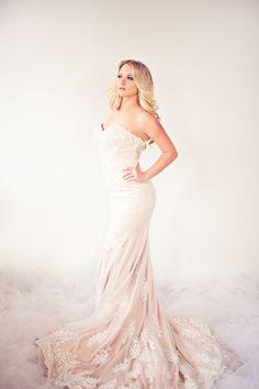 SAMPLE SALE/ Mermaid Beaded Lace Wedding Dress With illusion Back (Style # IngaLisa PB109)