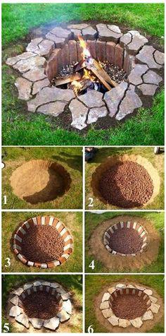 Diy Fire Pit, Fire Pit Backyard, Backyard Patio, Backyard Landscaping, Backyard Ideas, Fire Pits, Firepit Ideas, Rustic Backyard, Landscaping Ideas
