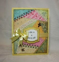 Crazy Quilt Card Embellsh it with Love