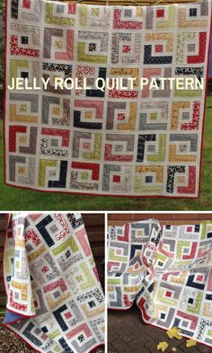 PDF Quilt Pattern Jelly Roll Quilt Pattern Easy Quilt   Pattern Modern Quilt Pattern, Baby Quilt Patterns, 6 sizes Baby to King -   Marcies Maze #quilts #affiliate #jellyroll