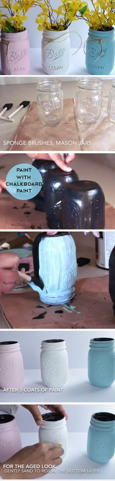 Pastel Mason Jar Vases | DIY Spring Table Decor Center Pieces | Easy Easter Centerpieces DIY Dollar Tree