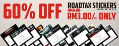 60% off for all roadtax stickers / roadtax holder   www.tomsstickers.com