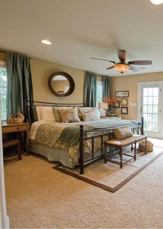 farmhouse master bedroom, neutrals, taupes, browns, turquoise