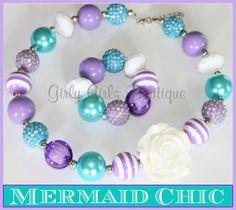 SALE SALE Mermaid Chic Girls Chunky Bubblegum Necklace  & Bracelet Set photo prop purple teal party jewlery $12.50