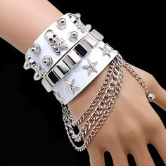 Night Club Style Star And Skull Leather And Alloy With Chain Man's Bracelet #jewelry #fashionjewelrystores #jewelryfashion #fashionjewelrywebsites #discountfashionjewelry #fashioncostumejewelry #goldfashionjewelry #fashionjewelrystore #fashionjewelryaccessories #fashionjewelrysets #trendyfashionjewelry #newfashionjewelry #fashionjewelryearrings #fashionandjewelry #fashionjewelrymanufacturers #mensfashionjewelry #buyfashionjewelry #jewelryinfashion #highfashionjewelry #costumefashionjewelry…