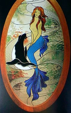 Mermaid stain on the glass Stained Glass Designs, Stained Glass Panels, Stained Glass Projects, Stained Glass Patterns, Stained Glass Art, Mosaic Glass, Mermaid Glass, Mermaid Art, Glass Art Pictures