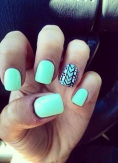 Mint Nails dont think these are for me but theyd be cute for you! Mint Nails dont think these are for me but theyd be cute for you! Cute Gel Nails, Love Nails, Pretty Nails, How To Do Nails, Accent Nails, Simple Nail Designs, Nail Art Designs, Nails Design, Mint Nail Designs