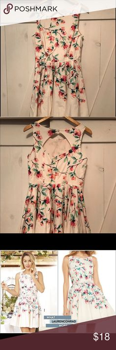 Tea Party Floral Mini Dress Super adorable floral dress from Lauren Conrad's collection. Cute for a bridal shower, summer wedding, guest at a baby shower or just a beautiful Sunday dress. LC Lauren Conrad Dresses Midi