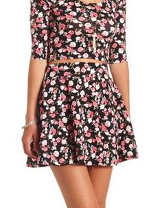 floral print high-waisted skater skirt