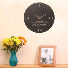 Personalised Slate Wall Clock  A round personalised slate wall clock with space for your engraved personalised message below the centre line. Find it at @giftsonline4u  #handmade #wallclock #interiordesign #interiordecor #officeclock #clock #walldecor #homestyling #homedecor #sweethome #clocks #homesweethome #handmadeisbetter #handmadegifts #madewithlove #instahome #homeaccessories #gifts #personalisedgifts #stylematters #amatterofstyle