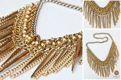 collar de cadenas con picos dorados
