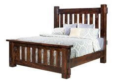 King Size Rustic Rough Sawn Brown Maple Houston Bed - Quick Ship A best selling bed available Quick Ship. The Houston features thick vertical slats and bed posts with authentic mortise and tenon construction. Warm, welcoming, durable and comfy. #beds #rusticfurniture #farmhousebedroom