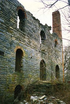 Bieber Mill near Delaware, Ohio - Remains of an old mill along the Olentangy River between Columbus and Delaware, reminiscent of an old world ruins, not typical in Ohio.