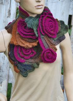 Crochet Scarf CapeletSchadows BrownPurple Roses by Degra2 on Etsy