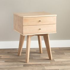 Add mid-century modern style to your bedroom with this unique Jones nightstand. Finished in an understated dark blonde, this nightstand features two small drawers for storing your bedside reading material and other personal items.