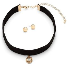 Gemma Simone Choker & Earrings Set ($15) ❤ liked on Polyvore featuring jewelry, earrings, black, pendant earrings, pendant jewelry, earring jewelry and stud earrings