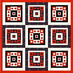 Polka Party by Jennifer Schifano Thomas shown in another colorway: red, white and black. Quiltmaker's 100 Blocks Volume 5; quiltmaker.com/100blocks